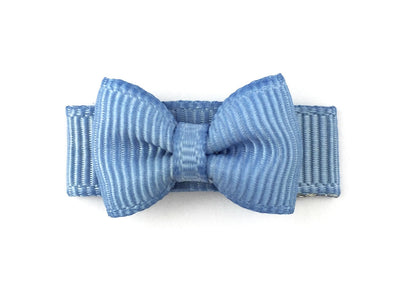 Grosgrain Tuxedo Bow Snap Clip - Single Hair Bow - French Blue - Baby Wisp
