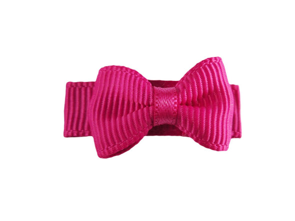 Grosgrain Tuxedo Bow Snap Clip - Single Hair Bow - Fuchsia - Baby Wisp