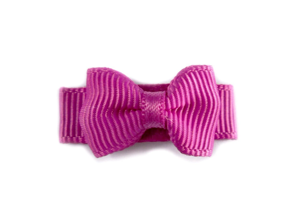 Grosgrain Tuxedo Bow Snap Clip - Single Hair Bow - Magenta Garden Rose - Baby Wisp