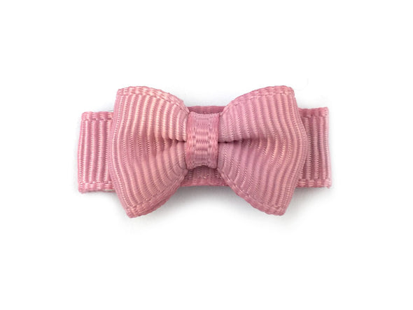 Grosgrain Tuxedo Bow Snap Clip - Single Hair Bow - Rose Quartz Blush - Baby Wisp