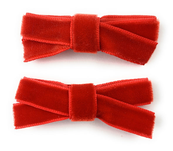 Small Snap Velvet Hand Tied Bows - Baby Wisp