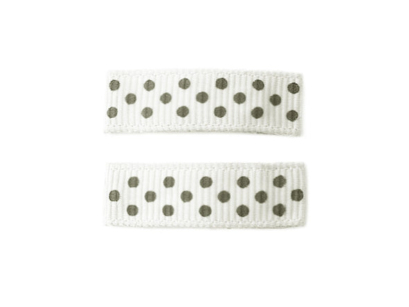 Little Girl Urban Ribbon Covered Hair Clips - Polka Dots - Baby Wisp