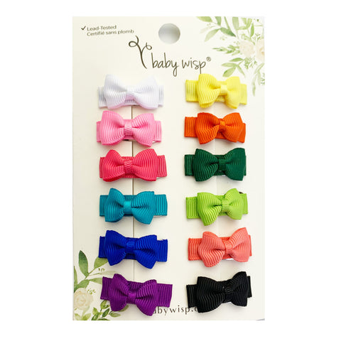 12 Pc Small Snap Tuxedo Grosgrain Hair Bows - Summer Vibrance - Baby Wisp