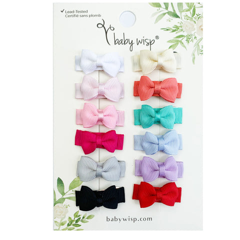12 Pc Small Snap Tuxedo Grosgrain Hair Bows - Essential Collection - Baby Wisp