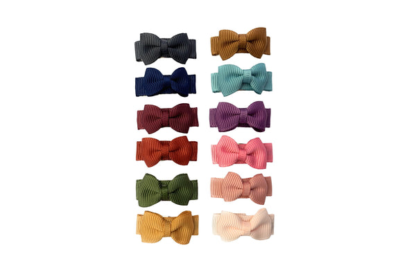 12 Pc Small Snap Tuxedo Grosgrain Hair Bows - Rich Colors - Baby Wisp