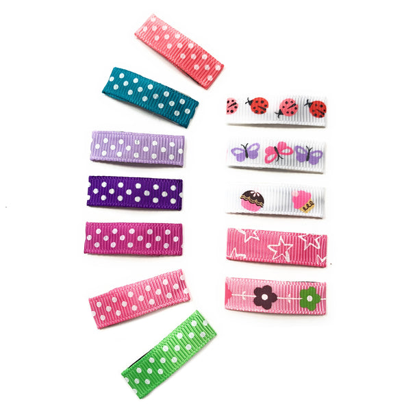 Small Snap Ribbon Clip Collection - 12 Hair Clips Variety Pack - Baby Wisp