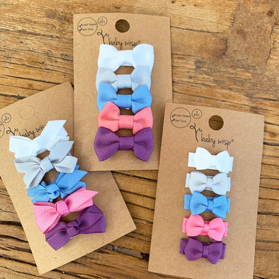 5 Baby Bow Spring Fling Set - Choose Bow Style - Baby Wisp