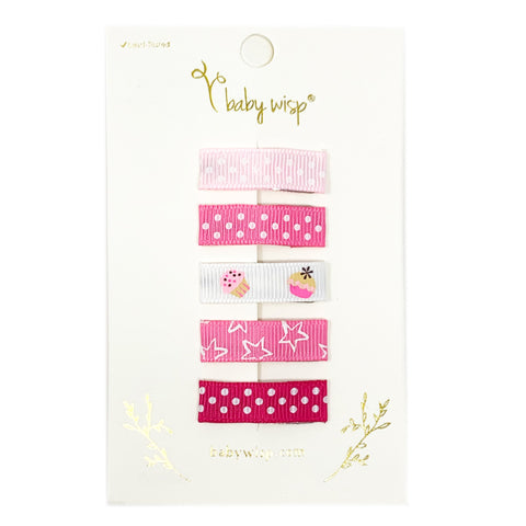 5 Mixed Print Ribbon Snap Clips - Baby Wisp