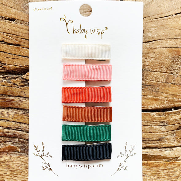 6 Small Snap Ribbon Lined Clips -  Gift Set - Baby Wisp