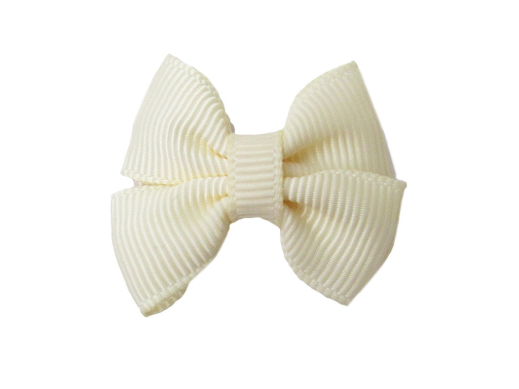 Small Snap Grosgrain Butterfly Bow - Baby Wisp - ivory