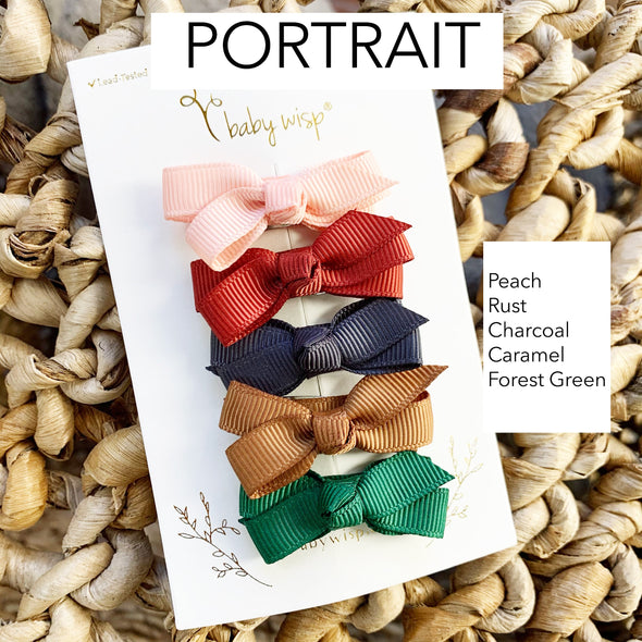 5 Small Snap Chelsea Boutique Bows Gift Set - Portrait - Baby Wisp