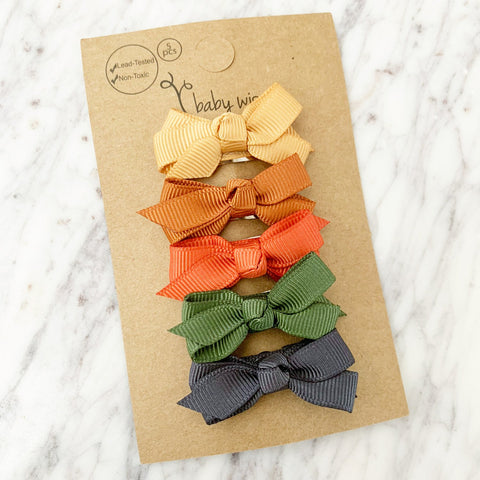 Small Snap Chelsea Bows - Cornucopia- 5 Bow Gift Set - Baby Wisp