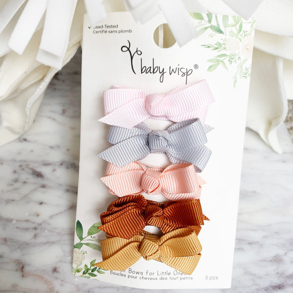 5 Small Snap Clips Chelsea Boutique Bow Collection - Bow Addict - Baby Wisp