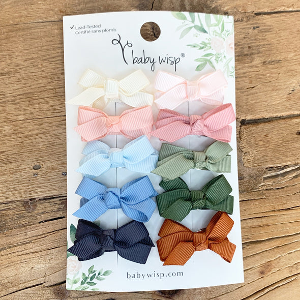 10 Pc Small Snap Chelsea Boutique Hair Bows - I Do - Baby Wisp