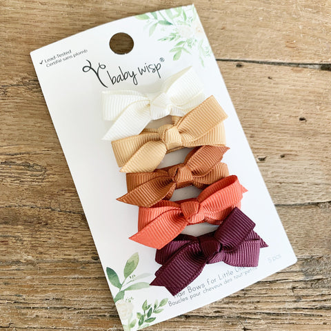 5 Small Snap Chelsea Bows - Shades of Fall - Baby Wisp