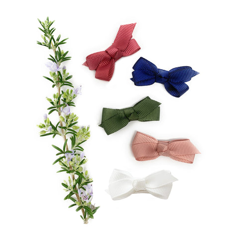 5 Small Snap Clips Chelsea Boutique Bow Collection -Juniper - Baby Wisp