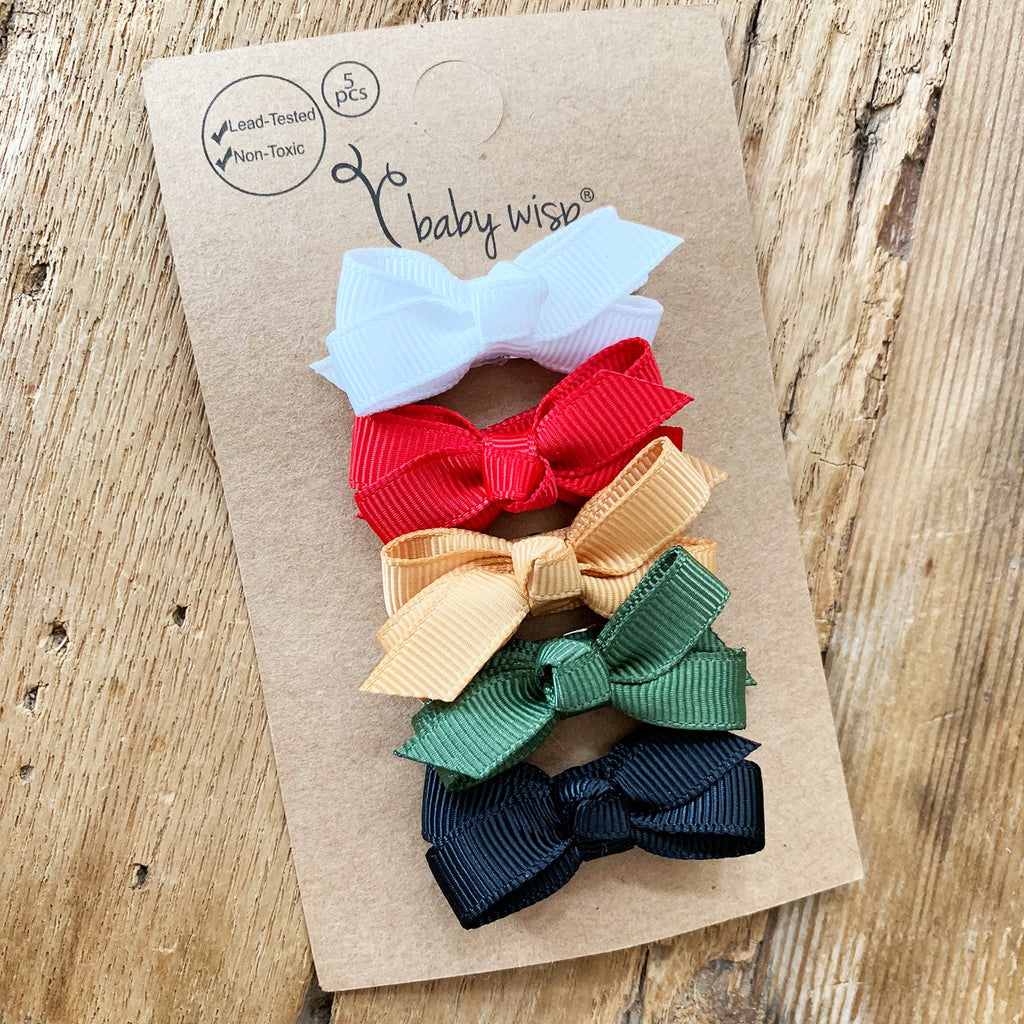 5 Small Snap Chelsea Boutique Bow Collection - Stocking Stuffer - Baby Wisp