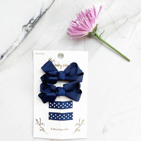 4 Clip Gift Set -Small Snap Emily Bows and Simple Ribbon Clips - Baby Wisp