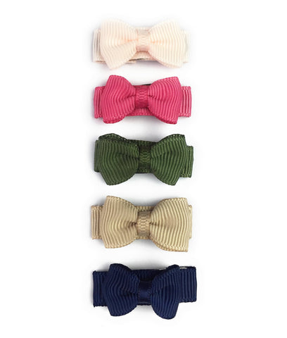 Small Snap Tuxedo Grosgrain Hair Bow Collection - Camelia - Baby Wisp