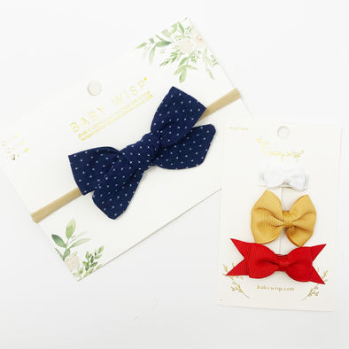 Navy Starlite Infant Bow Headband and 3 Mixed Style Snap Clips - Baby Wisp