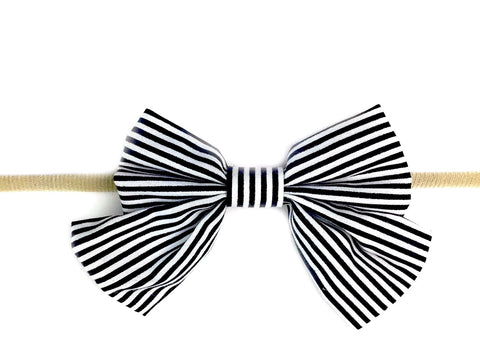Baby Headband - Giant Vintage Black Striped Sailor Bow
