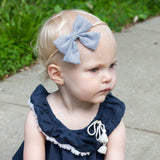 Baby Headband - Giant Vintage Black Striped Sailor Bow - Baby Wisp