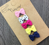 5 Tuxedo Grosgrain Bows Baby Gift Set - Mini Latch Wisp Clip - Firefly - Baby Wisp