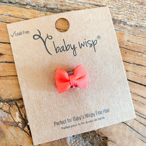Tiny Wisp Clip Tuxedo Grosgrain Bow - Neon Orange