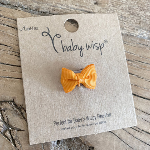 Tiny Wisp Clip Tuxedo Grosgrain Bow - Tangerine Orange
