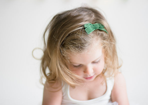 2 Infant Headbands - Velvet Bows - Red and Green Bows - Baby Wisp