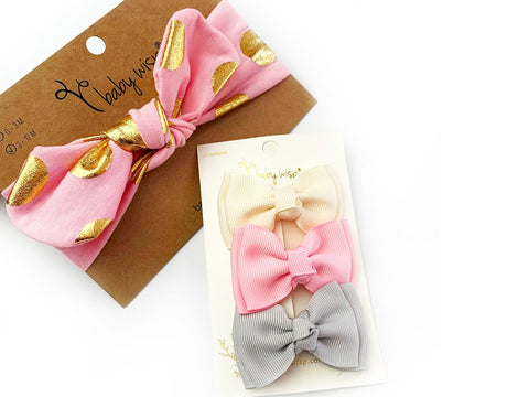 Spring HairBows - Top Knot Cotton Headband and 3 Toddler Bows