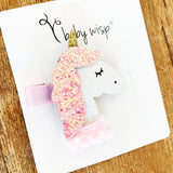 3 Sparkle Glitter Unicorn Felt Hair Clips