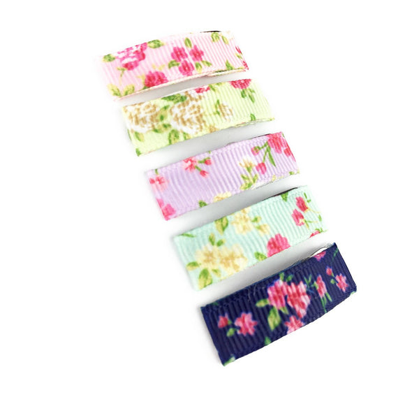 5 Small Snap Ribbon Lined Clips - Handmade Vintage Floral Gift Set - Baby Wisp