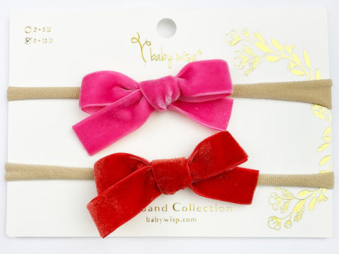 velvet bow headbands for baby infant toddler for valentine's