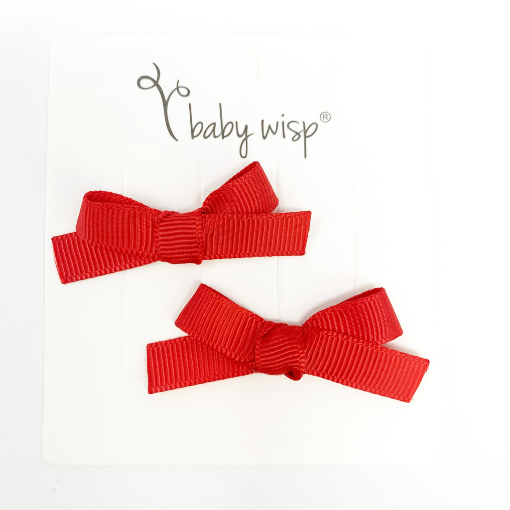 2 Hand Tied Baby Bows - Red Bows for Valentines - Baby Wisp