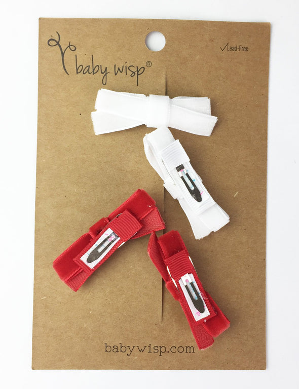 4 Small Snap Velvet Hand Tied Bows - Red and White - Baby Wisp