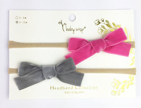 2 Infant Headbands - Velvet Bows - Baby Wisp