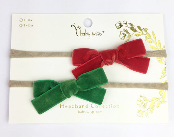 2 Infant Headbands - Velvet Bows (5/8 Ribbon) - Baby Wisp