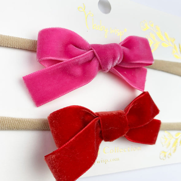 Valentine Bow Set - 2 Infant Headbands - Velvet Bows - Baby Wisp