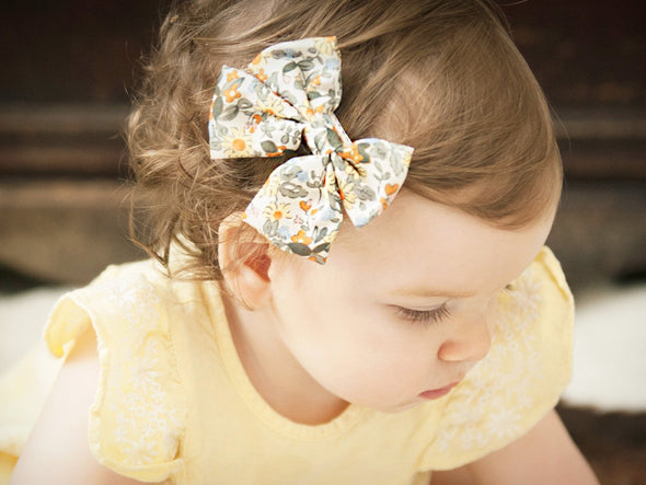 Retro Bouquet - Oversized Fabric Hair Bow Pinch Clip - Baby Wisp