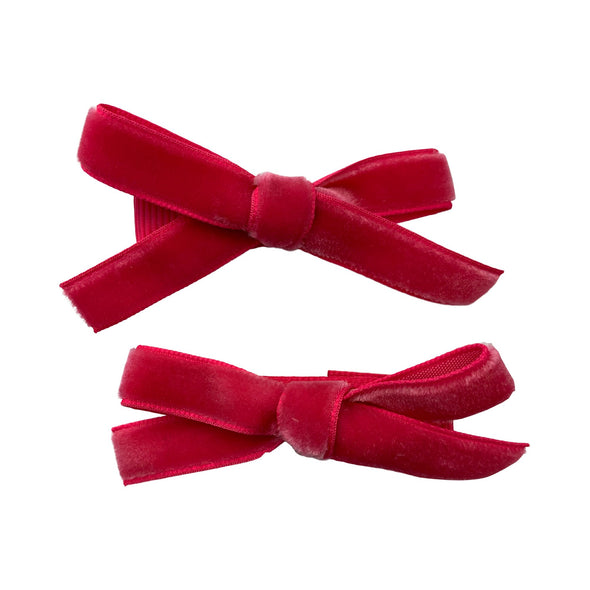 Velvet Ribbon Pigtail Bows Alligator Clips - 2 Bows - Baby Wisp