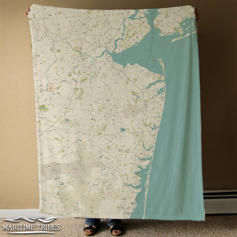 Jersey Shore Coast Map Blanket