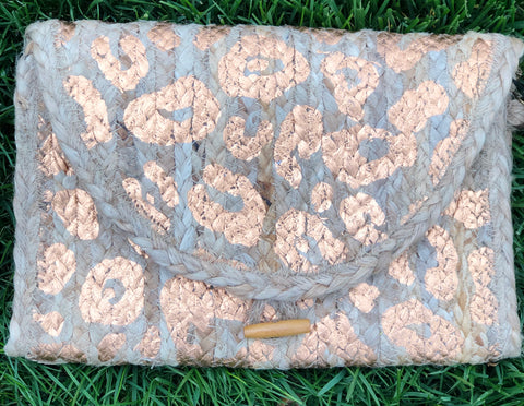 Leopard Gold Foil Clutch
