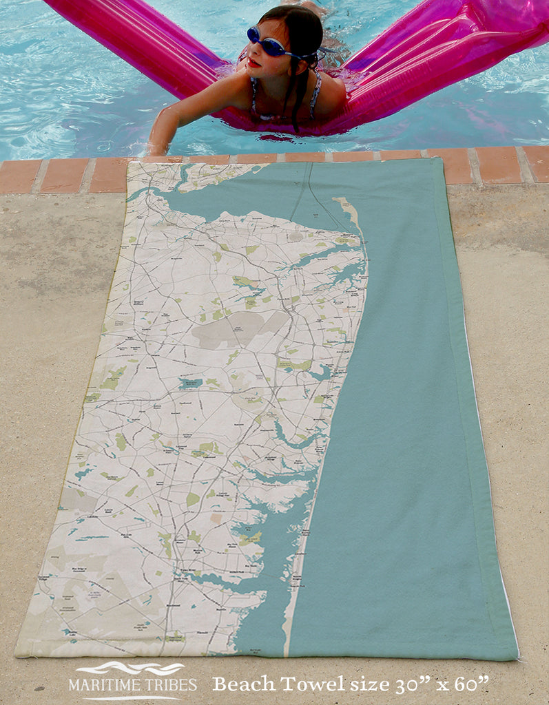 Jersey Shore Coast Map Beach Towel