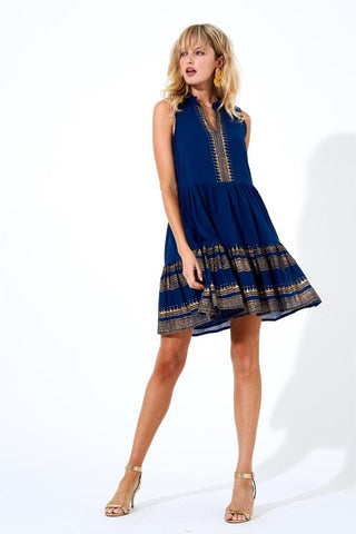 Navy Gold Yoke Dress by Oliphant