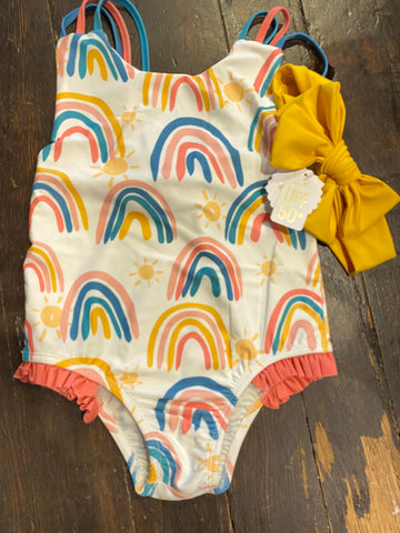 MudPie Toddler Rainbow Bathing Suit and Headband Set