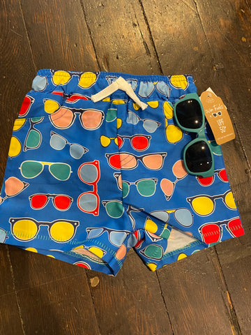 Mud Pie Toddler Swim Trunks and Shades Set