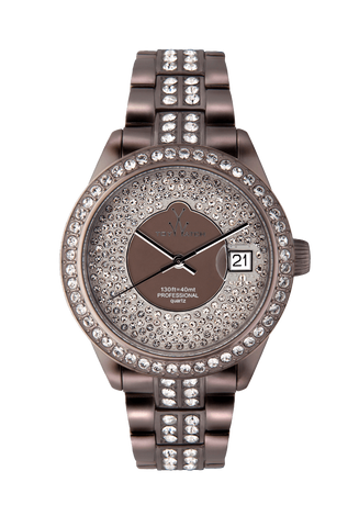 PEWTER METALLIC WHITE STONES PAVE DIAL - ToyWatch
