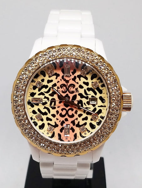 TOY WATCH WHITE PLASTERAMIC WITH SAFARI LEOPARD DIAL WITH SWAROVSKI CRYSTAL MARKERS IN THE DIAL