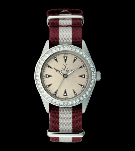 VINTAGE BURGUNDY AND WHITE WITH STONES - ToyWatch